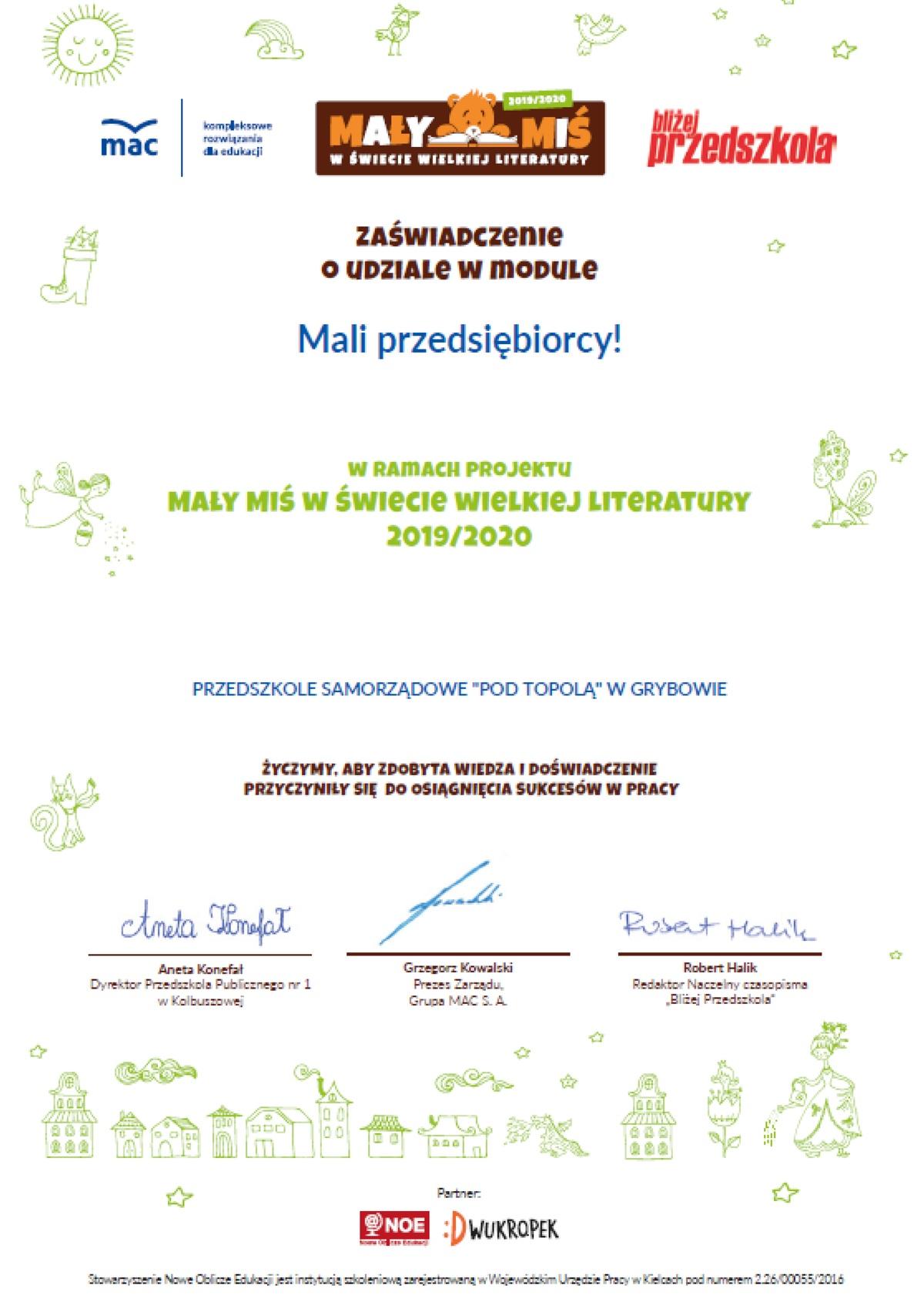 """Realizacja modułu """"Mali przedsiębiorcy"""" - certyfikat"""