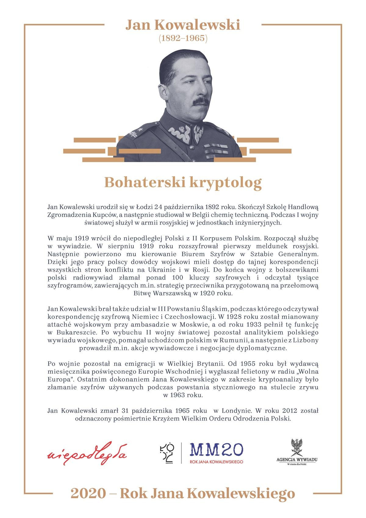 Plakat: Jan Kowalewski - bohater wojny polsko-bolszewickiej