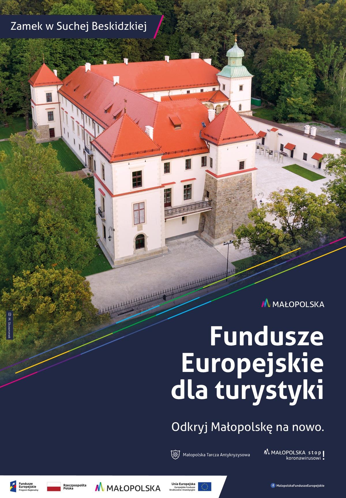 Plakat promujący zamek wSuchej Beskidzkiej