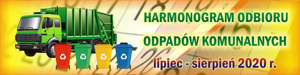 Harmonogram odbioru odpadów komunalnych (lipiec - sierpień 2020 r.)