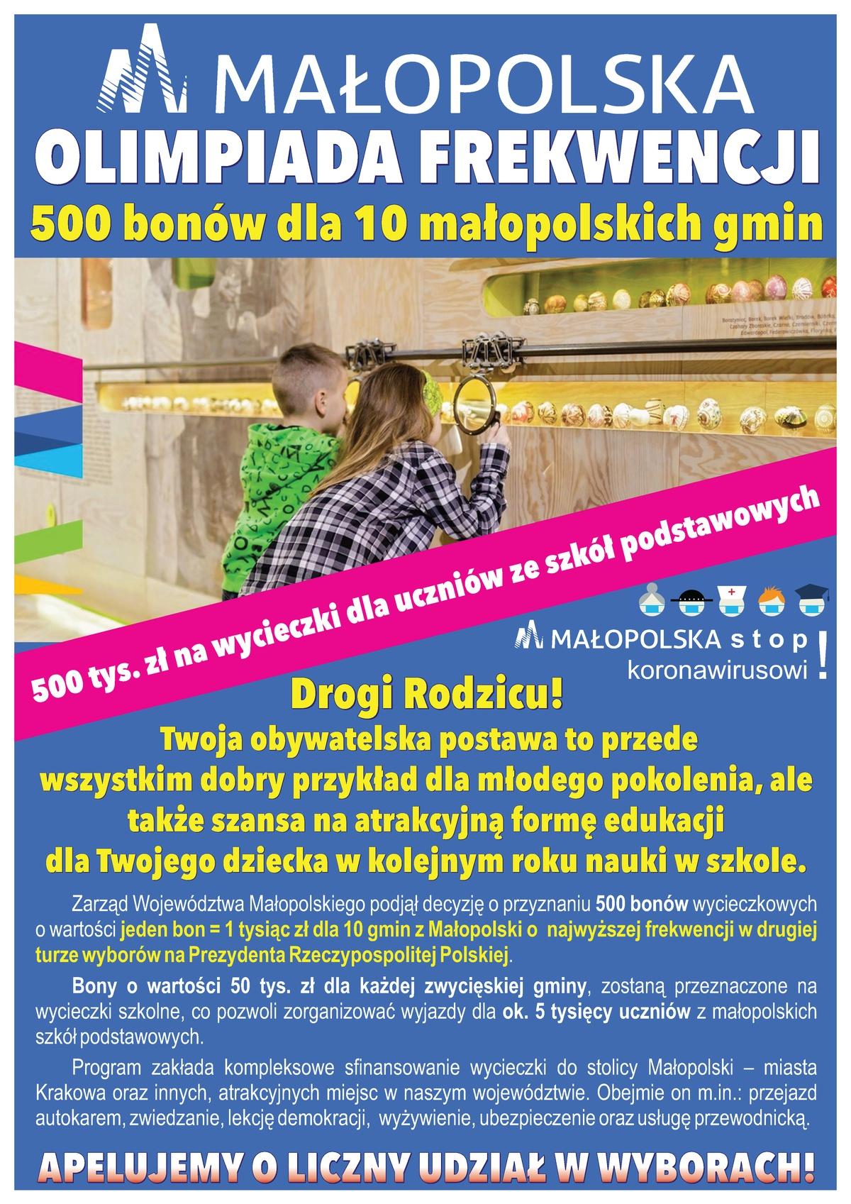 Małopolska Olimpiada Frekwencji - plakat informacyjny