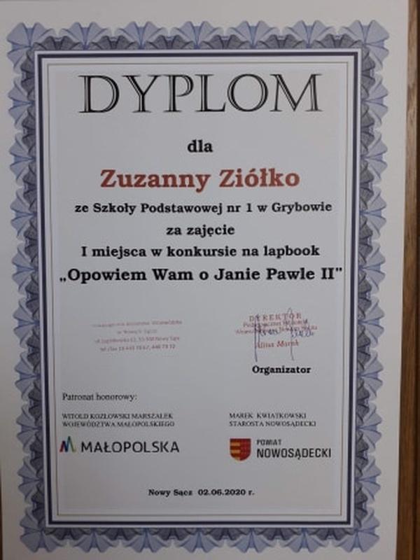 """Dyplom dla Zuzanny Ziółko - konkurs """"Opowiem Wam oJanie Pawle II"""""""