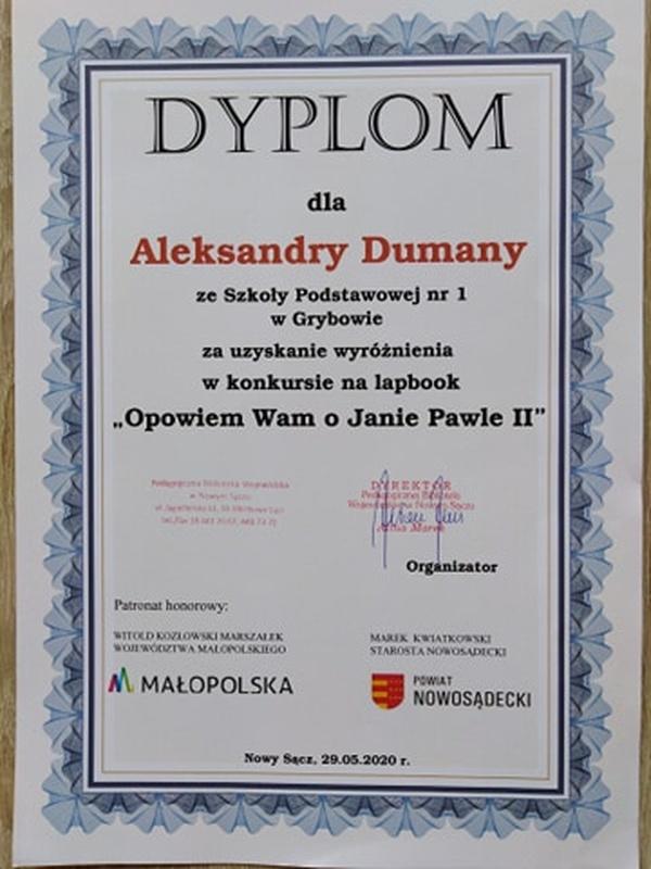 """Dyplom dla Aleksandry Dumany - konkurs """"Opowiem Wam oJanie Pawle II"""""""