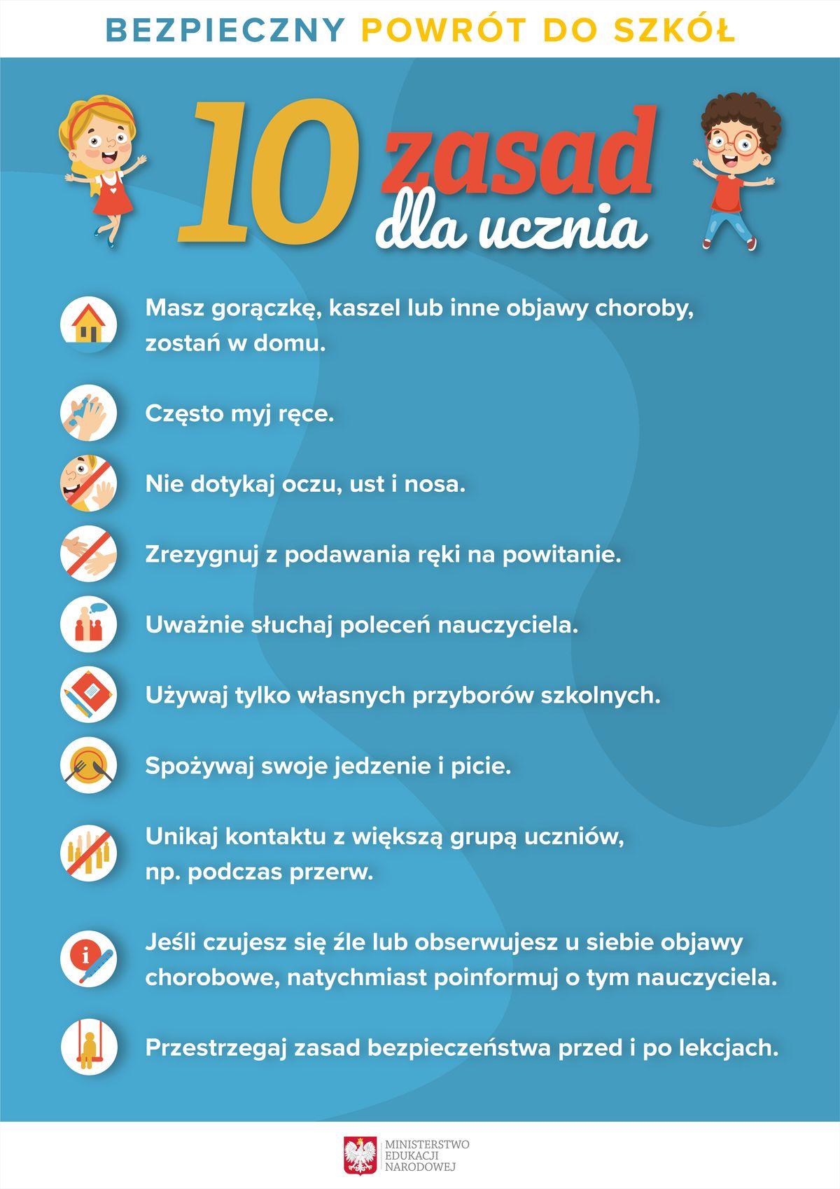 Bezpieczny powrót doszkoły: 10 zasad dla uczniów