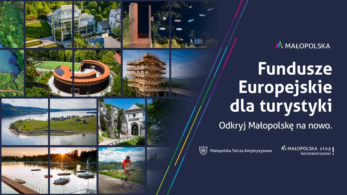 """Grafika kampanii """"Fundusze Europejskie dla turystyki. Odkryj Małopolskę nanowo"""""""