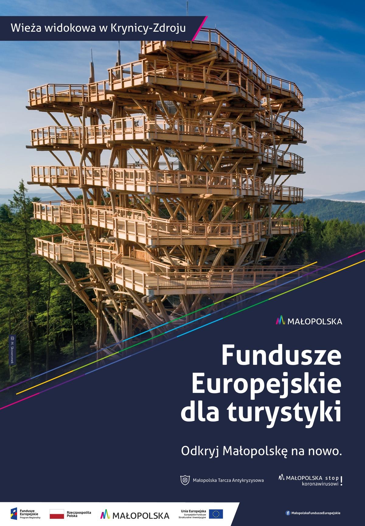 Plakat promujący wieże widokową wKrynicy-Zdrój