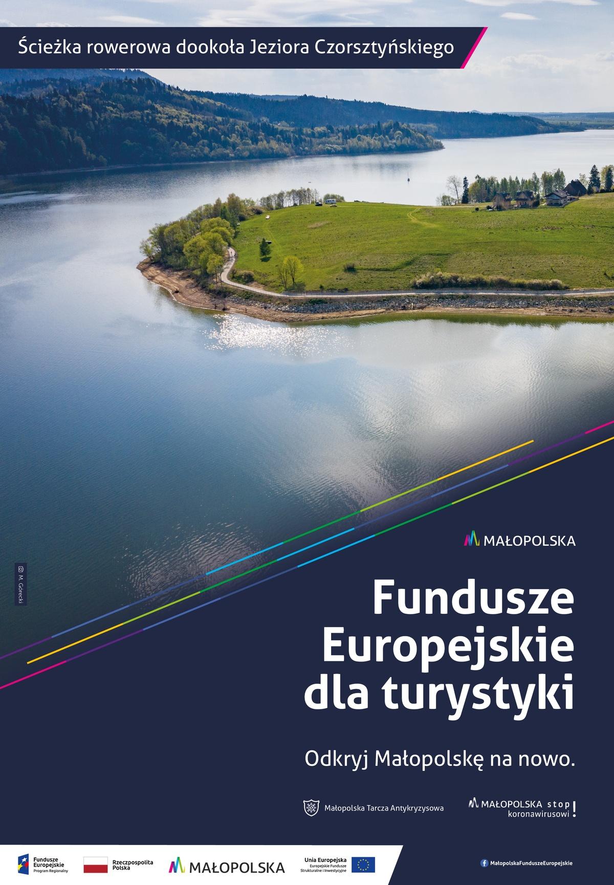 Plakat promujący trasę rowerową dookoła Jeziora Czorsztyńskiego