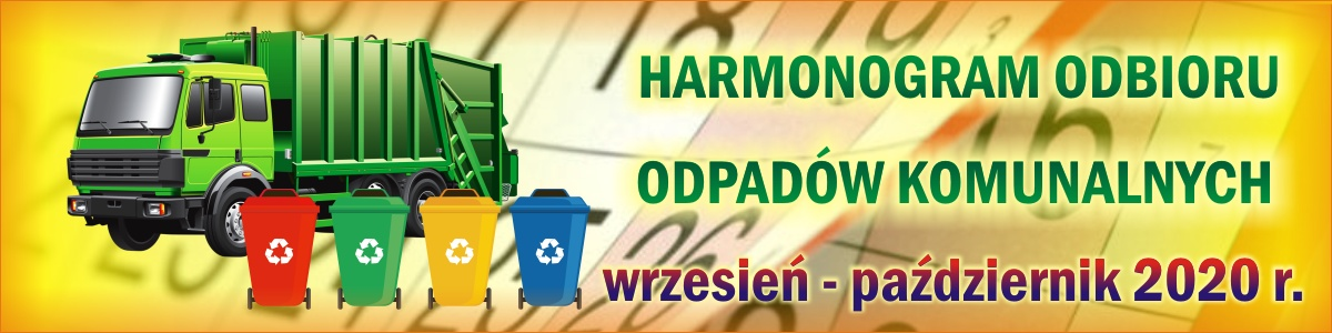 Harmonogram odbioru odpadów komunalnych (wrzesień - październik 2020 r.)