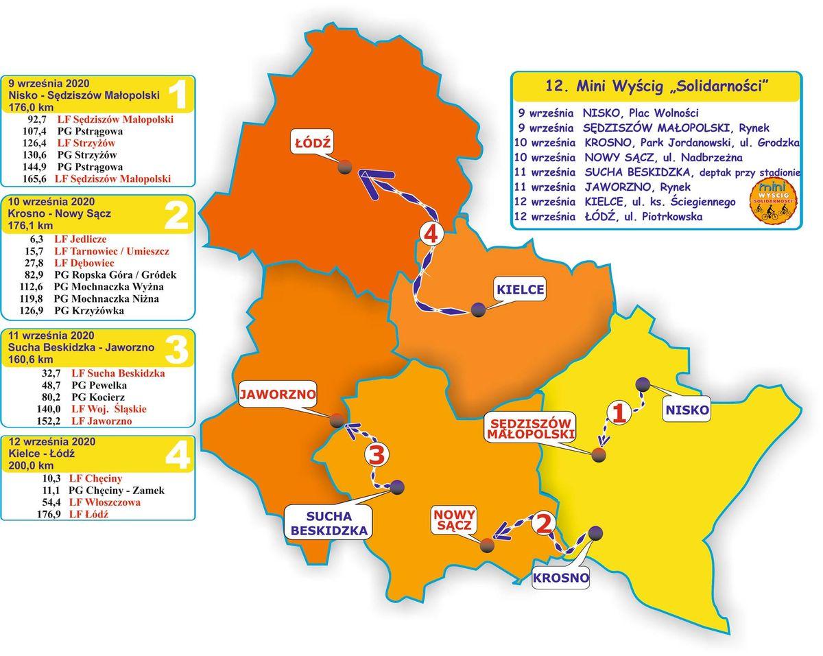 """Mapa - 31. Międzynarodowy Wyścig Kolarski """"Solidarności"""" iOlimpijczyków"""